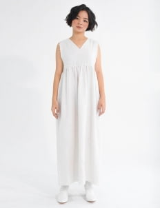 Tees and Scissors Off-White Linen Maxi Dress