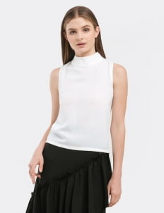 CLOTH INC White Basic Funnel Neck Top