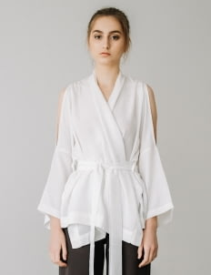 Posh The Label White Cut-Out Kimono Top