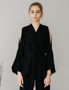 Posh The Label Black Cut-Out Kimono Top
