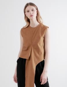 Shopatvelvet Brown Ty Twist Top