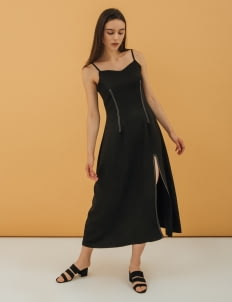 NANNA Black Ray Slit Dress