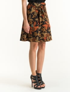 Bateeq Brown FL012C-SS18 Regular Cotton Printed Skirt