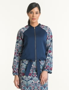 Bateeq Navy FL008E-SS18 Cotton Printed Jacket