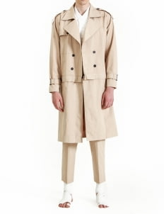 jan sober Cream Detachable Coat