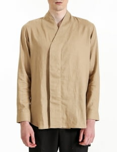 jan sober Camel Linen Wrapped Shirt