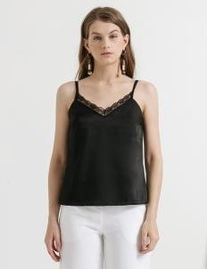 CLOTH INC Black Lace Sateen Tank Top