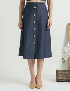 CLOTH INC Blue Button Denim Skirt