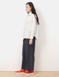 American Holic by Stripe Japan Stripe Navy Pleated Wide Pants
