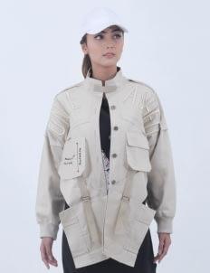 Alifia Maqnuun Beige Unleashed Fold Jacket