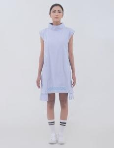 Alifia Maqnuun Blue Pinstripe Mutilated Shirt Dress