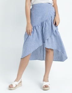 Calla The Label Navy Blue Ruffles Stripes Midi Skirt