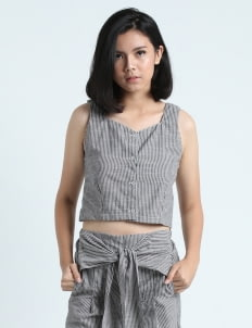 Calla The Label Gray Stripes Vanda Top