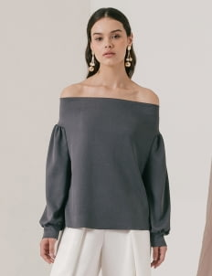 M By Mischa Stone Gray Delilah Top