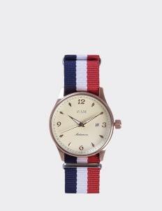 NAM Watch Cream Dial Mahameru Quartz with France Nato Strap MH-118 Watch