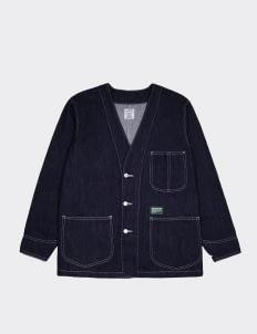 PMP Denim Navy Collarless Denim Jacket
