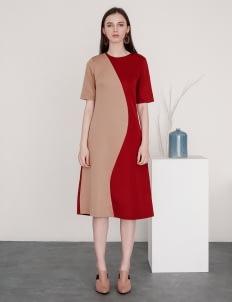 Posh The Label Maroon & Brown Victoria Dress