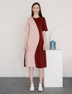 Posh The Label Maroon & Pink Victoria Dress