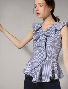 Saturday Club Blue Striped Cotton Top With Asymmetric Ruffled Hemline