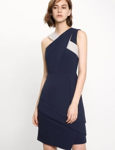 Saturday Club Navy Asymmetric Fitted Dress With Interlaced Neckline