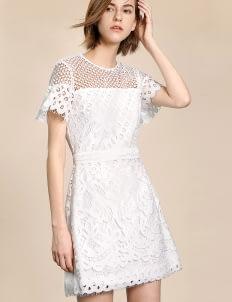 Saturday Club White Guipure Lace Sheath Dress