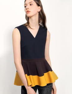 Saturday Club Yellow Tri-colored Cotton Strech Peplum Top