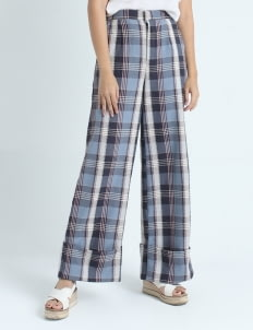 Calla The Label Blue Tartan Palazzo Pants