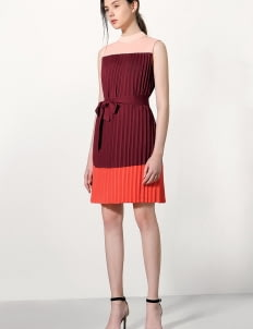 Saturday Club Maroon Pleated Tent Dress In Color-Block With High Neck