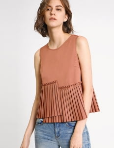 Saturday Club Salmon Asymmetric Pleated Tank Top