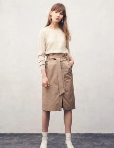 Yecca Vecca by Stripe Japan Beige Shenna Pencil Skirt