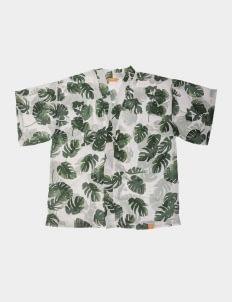 Monstore White Tropical Pattern Kimono Outer