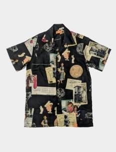 Monstore Black Collage Pattern Cuban Shirt