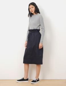 Sevendays Sunday by Stripe Japan Navy Manny Gathered Skirt