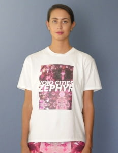 Void Cities White with Magenta Printed Amethyst T-Shirt