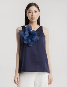 Cara Woman Navy Blue Alyssa Flower Top