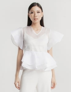 Cara Woman White Lilian Sheer Top