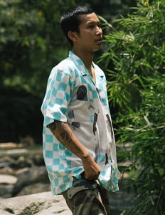 Natasha Tontey Sky Blue Checkered Alamanak Shirt