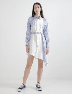 WILSEN WILLIM White & Dark Blue Jessica Shirt Dress