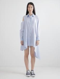 WILSEN WILLIM Light Blue Stripes Maria Shirt Dress
