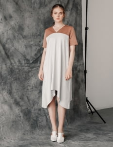 Posh The Label Brown & Gray Elaine Dress