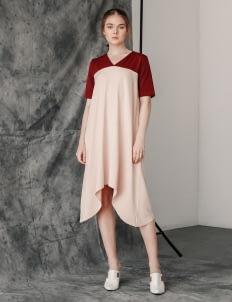 Posh The Label Maroon & Cream Elaine Dress