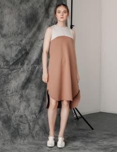 Posh The Label Gray & Brown Elena Sleeveless Dress