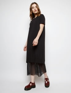 Muzca Black Long Dress in Supima