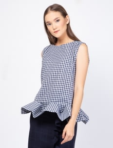 KOMMA Blue Checkered Claire Top