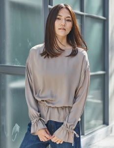 American Holic by Stripe Japan Gray Beige Molly Gathered Blouse