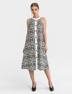 Warangka Batik Gray Dolce Buttoned Midi Dress