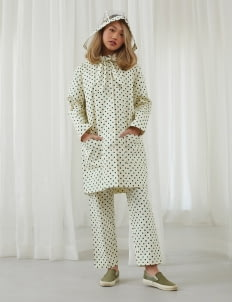 Argyle and Oxford Beige & Green Polkadot Raincoat with Detachable Hoodie
