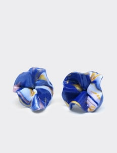 Mita Jewelry Blue Gold Rose Earrings