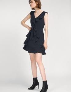 Saturday Club Navy Ruffles A-line Dress