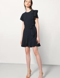 Saturday Club Navy Asymmetric Wrap Dress With Ruffles